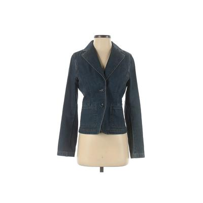 Ann Taylor Denim Jacket: Blue Solid Jackets & Outerwear - Size X-Small