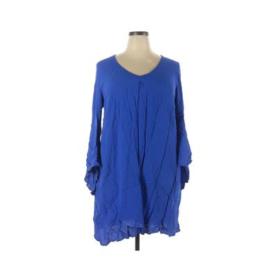 ELOQUII Casual Dress - Shift: Blue Solid Dresses - Used - Size 18 Plus