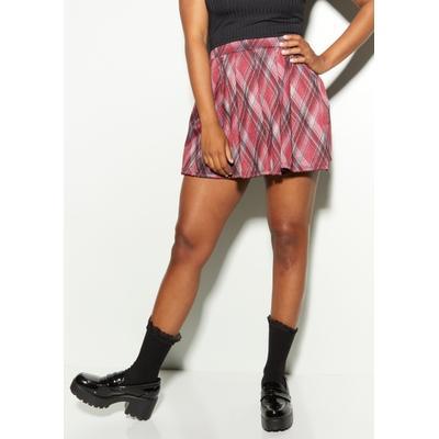 Rue21 Womens Burgundy Plaid Pleated Skirt - Size M
