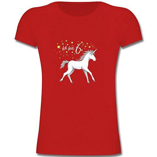 Kindergeburtstag Geburtstag Geschenk 6. Geburtstag Einhorn T-Shirts Kinder rot Kinder