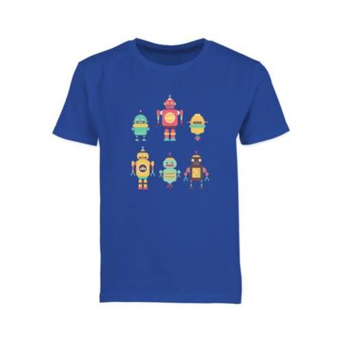 Up to Date Kind Bunte Roboter T-Shirts Kinder blau Kinder