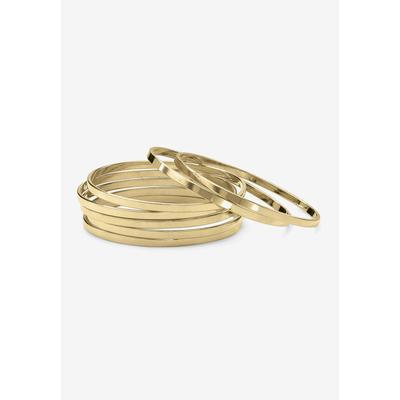 Plus Size Women's Goldtone 7 Piece Polished Bangle Bracelet (3.5mm), 7.5 inches by Roaman's in Gold