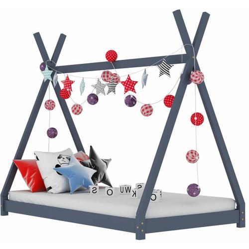 Kinder-Bettgestell Massivholz Kiefer 70x140cm Grau