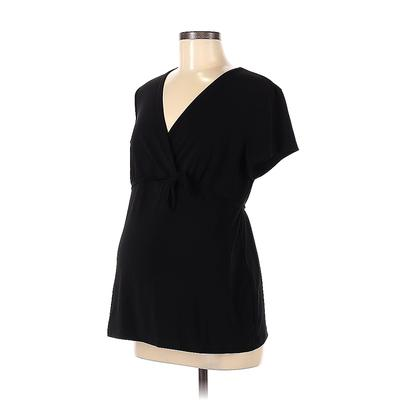 Motherhood Short Sleeve Blouse: Black Solid Tops - Size Medium Maternity