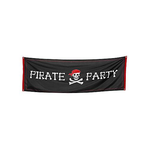 Banner Piratenparty Partydeko Kinder schwarz Kinder