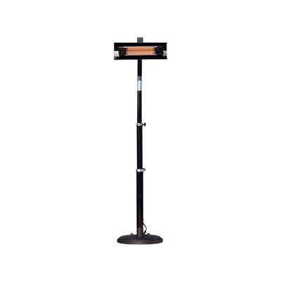 Black Powder Coated Steel Telescoping Offset Pole Mounted Infrared Patio Heater by Well Traveled Imports, Inc. in Black