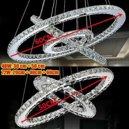 LED Deckenleuchte 3 Ring Kristall Kronleuchter Deckenlampe Pendellampe 48W/72W