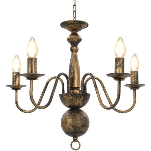Kronleuchter Antik Schwarz 5×E14-Glühbirnen