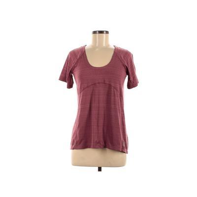 Merrell Short Sleeve T-Shirt: Burgundy Stripes Tops - Size Medium