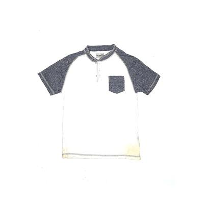 Distortion Custom Rags Short Sleeve Henley Shirt: White Tops - Size Medium