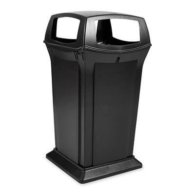 Rubbermaid FG917600BLA 65 gal Outdoor Decorative Trash Can - Plastic, Black