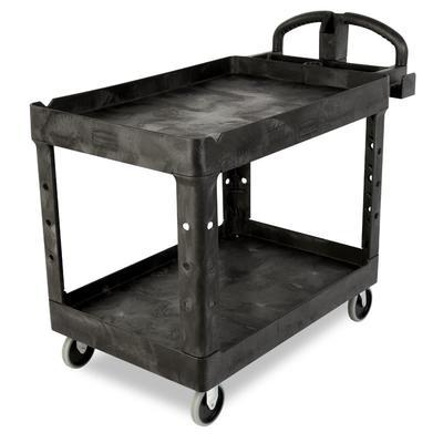 """Rubbermaid FG454600 BLA 2 Level Polymer Utility Cart - 55""""L x 26""""W x 33-1/4""""H, Black"""