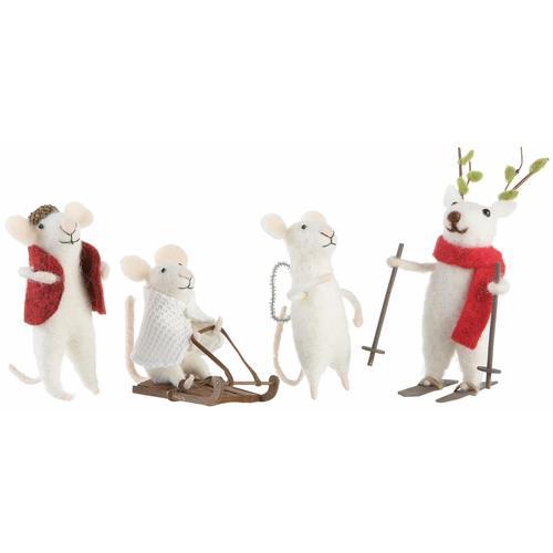 CHRISTMAS GOODS by Inge Tierfigur Mäuse weiß Tierfiguren Figuren Skulpturen Wohnaccessoires