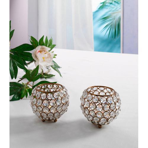 Home affaire Teelichthalter Kristall braun Kerzenhalter Kerzen Laternen Wohnaccessoires