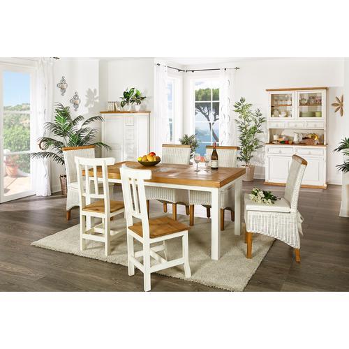 Esstisch MEXICO weiß / honig mit Marmor, Pinie, Landhausstil Möbel