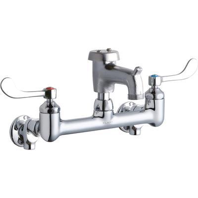 "Elkay LK940BR03T4S Splash Mount Faucet w/ 3"" Rough Bucket Hook Spout & 4"" Wrist Blade Handles - 8"" Centers"