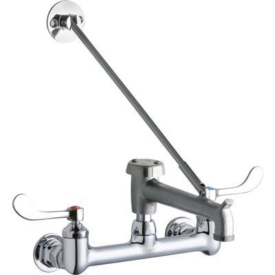 "Elkay LK940BR07T4H Splash Mount Faucet w/ 7"" Rough Bucket Hook Spout & 4"" Wrist Blade Handles - 8"" Centers"