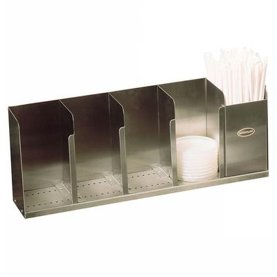 """Modular Dispensing Systems 1004065 22"""" Countertop Lid Dispenser w/ 5 Adjustable Dividers, 12 1/2"""" H, Stainless"""