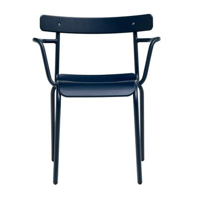 emu 638 Outdoor Stacking Armchair w/ Steel Back & Seat - Steel Frame, Iron Finish