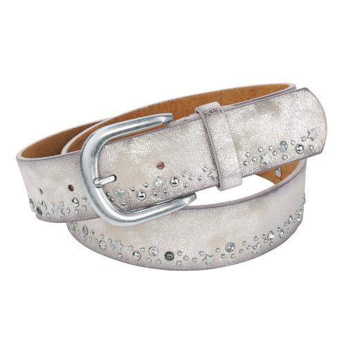heine Nietengürtel, mit Metallic-Finish silberfarben Damen Ledergürtel Gürtel Accessoires Nietengürtel