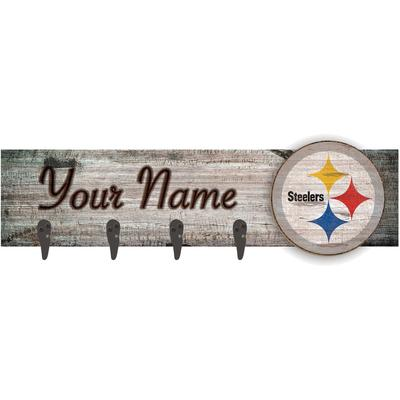 """Pittsburgh Steelers 24"""" x 6"""" Personalized Mounted Coat Hanger"""