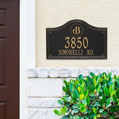 Designer Arch Wall Address Plaque - 1 Line, Estate, Black/Gold Plaque with Medallion - Frontgate