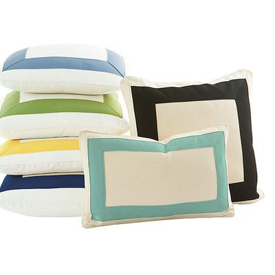 "Outdoor Bordered Pillow Canvas Navy Sunbrella 20"" x 20"" - Ballard Designs"