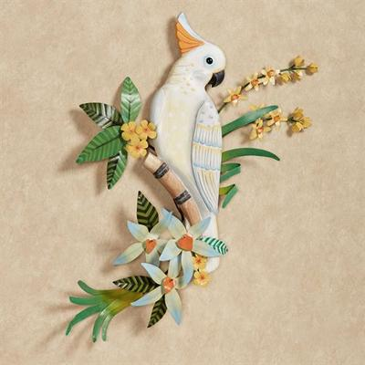 Cockatoo in Blossoms Wall Art White , White