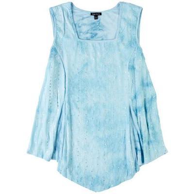 Sami & Jo Womens Sequin Tie-Dye Sleeveless Top