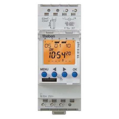 THEBEN TR-610-TOP-2-12/24V Electr. Timer,Din Rail,24Hr/7D,1 Chn.