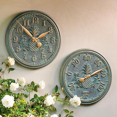 Classic Pineapple Clock and Thermometer - Bronze - Frontgate