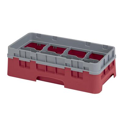 Cambro 8HS318416 Camrack Glass Rack with Extender - Half Size, 8 Compartments, Cranberry