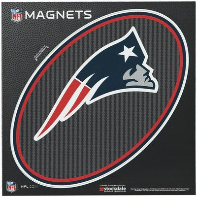 """New England Patriots Carbon 6"""" x Oval Full Color Magnet"""