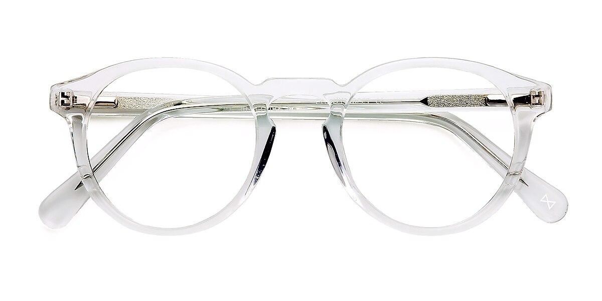 Unisex Round Translucent Acetate Prescription eyeglasses - EyeBuydirect's Theory