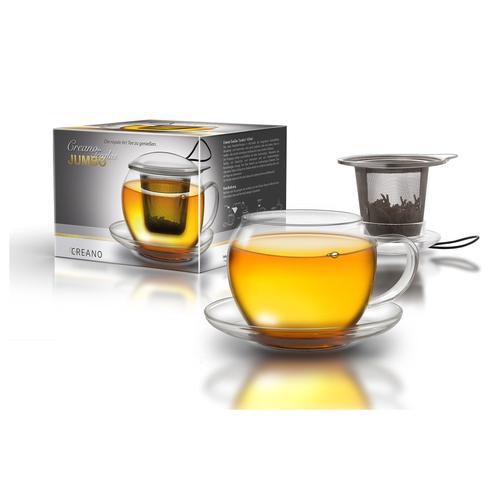 Creano Glas Jumbo farblos Kaffeegläser, Espressogläser und Latte Macchiato Gläser Glaswaren Haushaltswaren