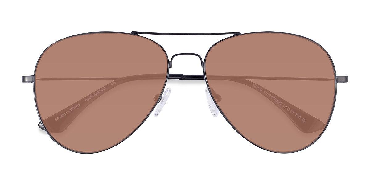 Unisex Aviator Black Metal Prescription sunglasses - EyeBuydirect's Good Vibrations