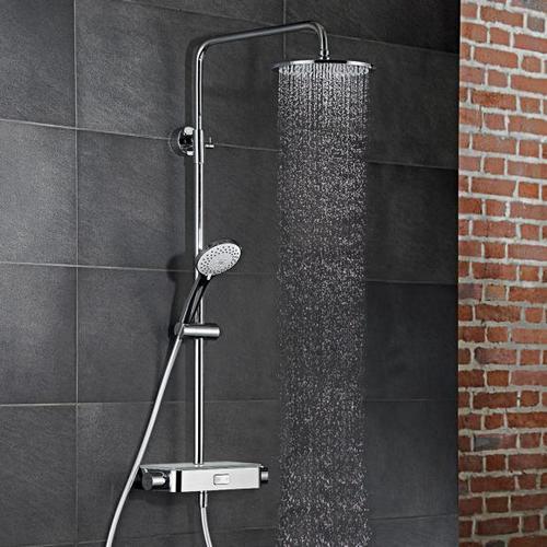 HSK AquaSwitch RS 200 Thermostat Shower-Set mit Kopfbrause flach Ø 250 mm weiß 1001900-07