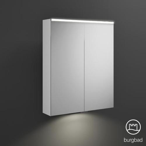 Burgbad Eqio Spiegelschrank mit LED-Beleuchtung B: 65 H: 80 T: 17 cm, 2 Türen weiß glanz, mit Waschtischbeleuchtung SPGT065F2009, EEK: A+