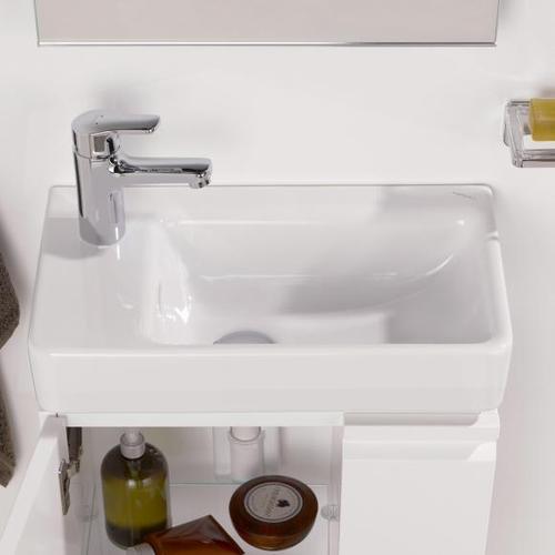 Laufen Pro S Handwaschbecken B: 48 T: 28 cm, asymmetrisch weiß, mit Clean Coat, mit 1 Hahnloch H8159554001041