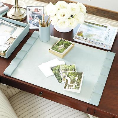 Bunny Williams Leather Desk Blotter - Turquoise Turquoise - Ballard Designs