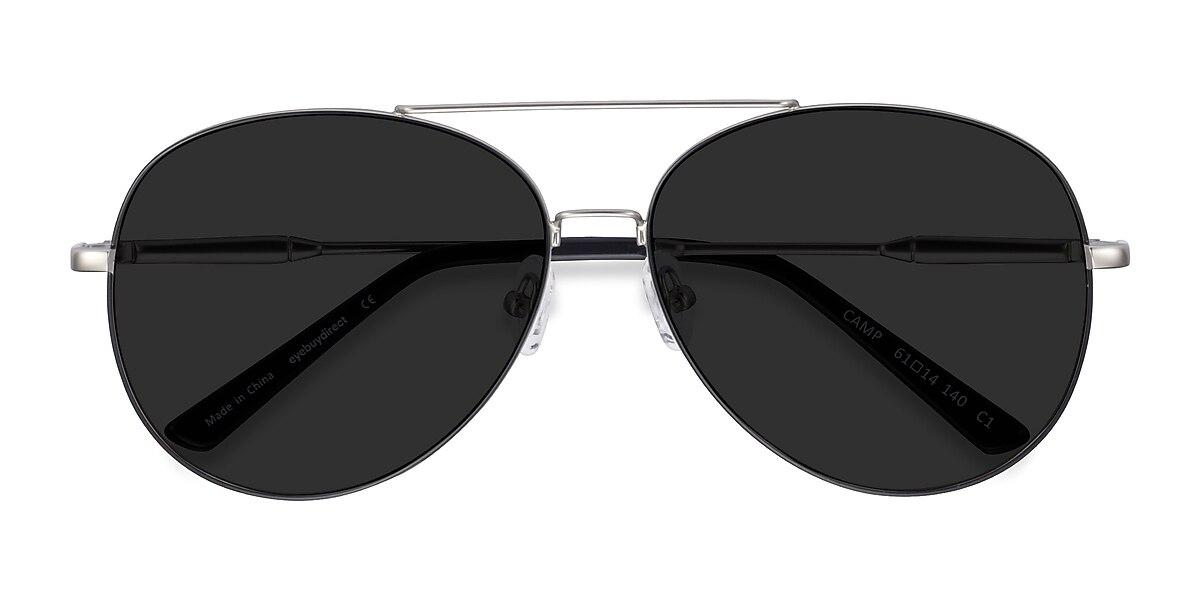 Unisex Aviator Black Silver Metal Prescription sunglasses - EyeBuydirect's Camp
