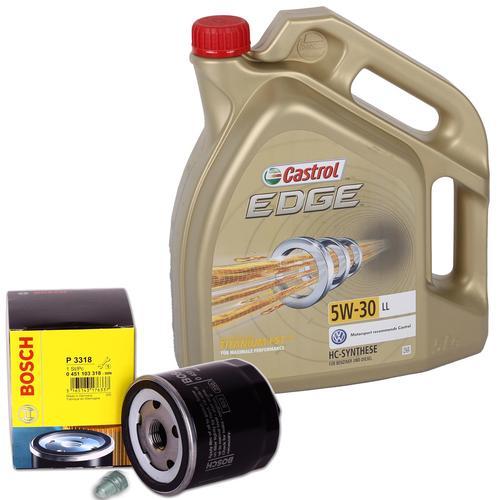 Bosch Ölfilter + 5 Liter Motoröl 5w-30 Castrol Edge Titanium Ll Schraube Vw Golf Verschlussschraube Ölwanne: Vw: n90813201 Vw: n90813202 Bga: pk01