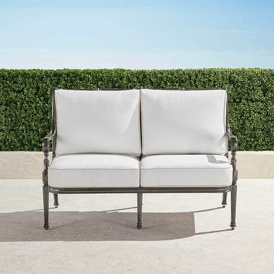 Carlisle Loveseat with Cushions in Slate Finish - Performance Rumor Snow, Solid, Special Order - Frontgate