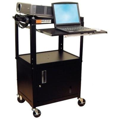 Luxor A/V Cart with Cabinet and Pullout Tray AVJ42KBC