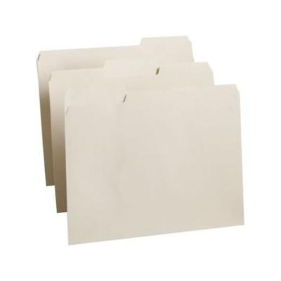 Antimicrobial One-Ply File Folders, 1/3 Cut Top Tab, Letter, Manila, 100/Box, Off White