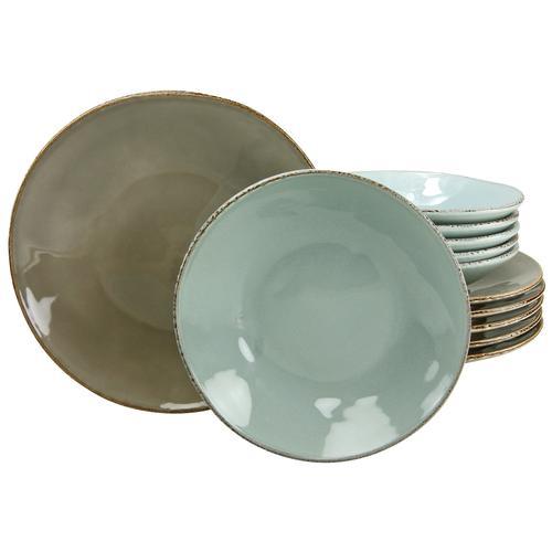 CreaTable Tafelservice OSLO, (Set, 12 tlg.), Antik-Look grau Geschirr-Sets Geschirr, Porzellan Tischaccessoires Haushaltswaren