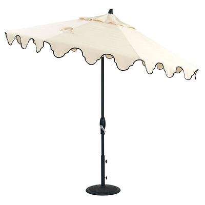 Bunny Williams Mughal Arch Patio Umbrella Replacement Canopy Canvas Sand with Black Trim - Ballard Designs