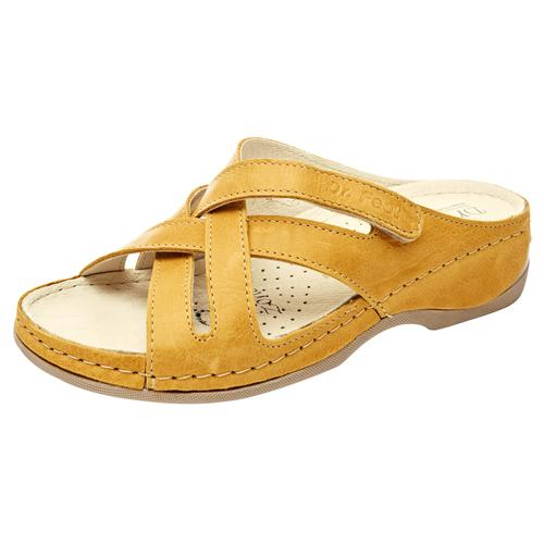 Hausschuh Vitello mit Klettverschluss gelb Damen Pantoletten Hausschuhe