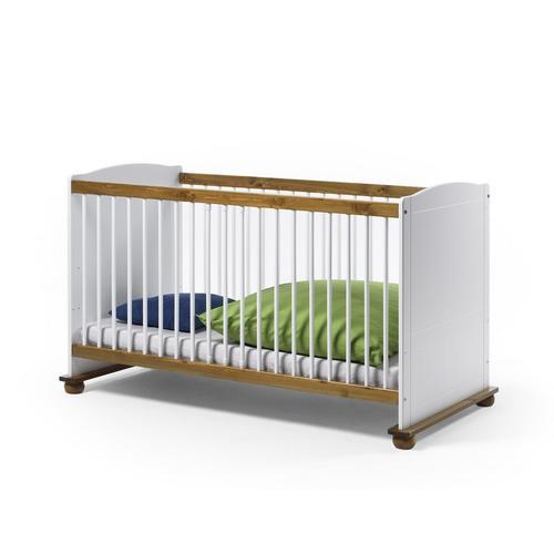 Kinderbettset 70x140 Kiefer massiv weiss Babybett+ Bettseiten für Juniorbett Fiore