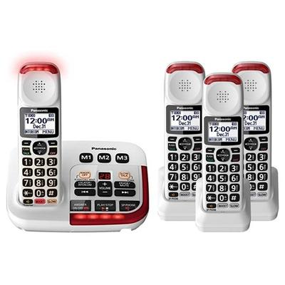 Panasonic KX-TGM420W Plus (3) KX-TGMA44W 4 Handset Amplified Cordless Phone
